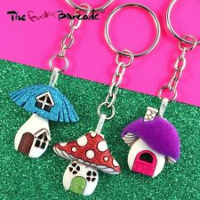 FUNKY FAIRYTALE TOADSTOOL HOUSE KEYRING QUIRKY NOVELTY CUTE SWEET GIFT FUN KEYS