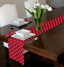 "RED & WHITE MODERN POLKA DOT TABLE RUNNER TOPPER SWEET JOJO DESIGNS  72"" 90"""