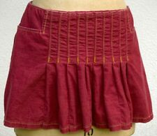 ABERCROMBIE & FITCH Boho Maroon Corduroy Tennis Pleated Stretch Mini Skirt NWT