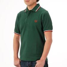 New Sale Men's Polo 1FRED 1PERRY M12 TWIN TIPPED GREEN RED WHITE POLO T SHIRT