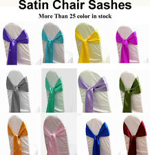 100 Satin Chair Sash Bow Wedding Banquet Reception Decoration 30 color Free Ship
