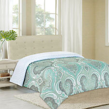 NEW Twin Full Queen King Bed Mineral Blue Gray White Damask Reversible Comforter