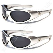 New CHOPPERS Mens Silver Motorcycle Designer Biker Wrap Sunglasses Goggles