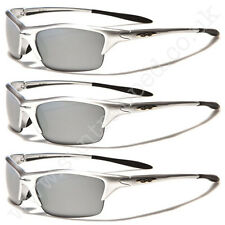 Men's X-Loop Wrap Mirror Lens Silver Frame Sports Sunglasses