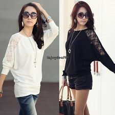 New Women Ladies T-Shirt Long Sleeve Tops Lace Loose Batwing Blouse Sexy OO55