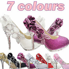 Glitter Gorgeous Wedding Bridal Evening Party Crystal High Heels Women Shoes