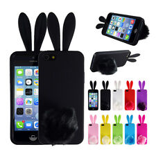 Cute Silicone Rabbit Ears Phone Back Cover Case For Iphone 5 5S 5c