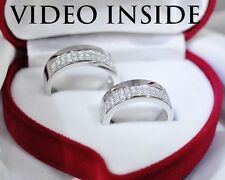 Solid*1.6CT Engagement & Wedding Engagement Rings Diamond Bands Platinum Silver