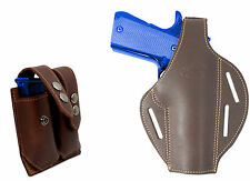 New Brown Leather Pancake Holster + Dbl Mag Pouch Kimber Llama Full Size 9mm 40