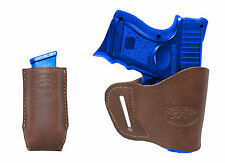 New Barsony Brown Leather Yaqui Holster + Mag Pouch for Ruger Compact 9mm 40 45