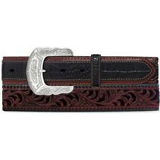 Tony Lama Western Mens Belt Leather Floral Tooled Caiman Brown C41283