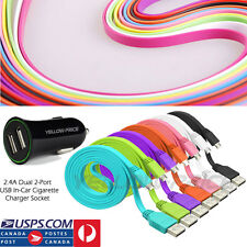 NEW 2-Dual Port Car Charger & 1M Flat Micro-USB Cable For Samsung HTC SONY & LG