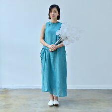 Women's Dress Sleeveless Cheongsam Qipao Chinese Traditional Style Blue Linen