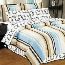 NEW Twin Full Queen King Bed Blue Brown Circles Stripe 8 pc Comforter Sheets Set
