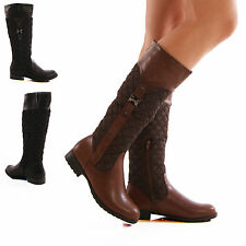 LADIES WOMENS RIDING BOOTS QUILTED FAUX LEATHER KNEE HIGH ZIP SHOES SIZE