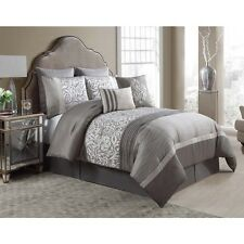 NEW Queen King Bed Silver Gray Grey Taupe Floral Pleat 8 pc Comforter Set NWT