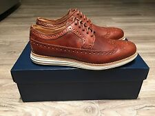 Cole Haan LunarGrand Long Wing Tip Leather Woodbury Brown Men's C13739 Brand New