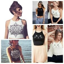Womens Summer Halter Cat Floral Printed Tank Top Vest Casual T-shirt Blouse Tops