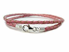 MENS/LADIES LEATHER BRACELET-BRAIDED DOUBLE WRAP-PINK-STERLING SILVER CLASP