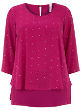 EVANS NEW FUCHSIA PINK SILVER EMBELLISHED SHIRT TUNIC BLOUSE TOP PLUS SIZE 14-32