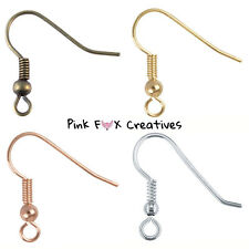 EARRING HOOK WIRES FISH HOOKS SILVER GOLD BRONZE PLATED JEWELLERY FINDINGS DIY