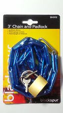 3 BLACKSPUR Padlock With  Chain for Bicycles Cycle,Bike,Garage,Gates
