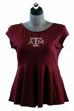 TAIL Maroon Cap Sleeve Peplum Scoop Neck Top with Back Zipper Accent