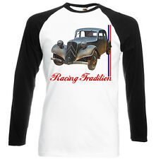 FRENCH CAR  11CV INSPIRED - BLACK SLEEVED BASEBALL SHIRT S-M-L-XL-XXL