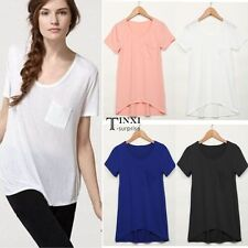 Women Ladies Casual Cotton Short Sleeve Loose Solid Top Blouse T-shirt Basic Tee