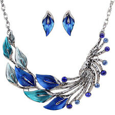 European Fashion Exquisite Crystal Alloy Leaf Necklace Earring Jewellery Set