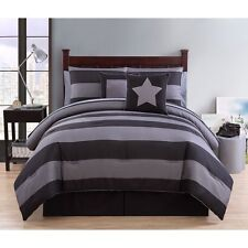 NEW Twin XL Full Queen Bed Bag Gray Grey Black Striped 10pc Comforter Sheets Set