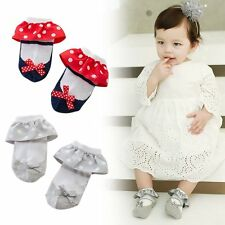 Toddler Baby Girl Cute Anti-slip Princess Socks Lace Dot Cotton Ankle Sock Shoes