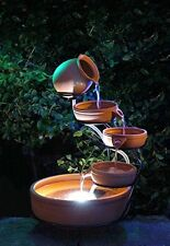 Solar Powered Terracotta Cascade Water Feature LED Light Battery Decor Garden