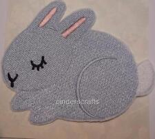 Custom Embroidered Iron/Sew on Sleepy Bunny Rabbit Applique, Badge, Patch
