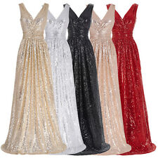Sexy Long Black Sequins Prom Bridesmaid Party Evening Dress Wedding Formal Gown