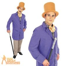 Adult Willy Wonka Costume Mens Chocolate Factory Fancy Dress Outfit New