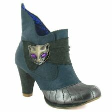 Irregular Choice Miaow 3432-02Q Womens Leather Ankle Boots Green