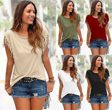 Womens Fringed Short Sleeve Ladies Summer Casual T-Shirt Beach Top Blouse UK6-20