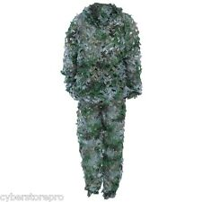 3D Bionic Leaf Camouflage Jungle Hunting Ghillie Suit Set Woodland Sniper Poncho