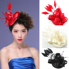 Kentucky Derby Flower Feather Fascinator Hairband Clip Racing Wedding Party New