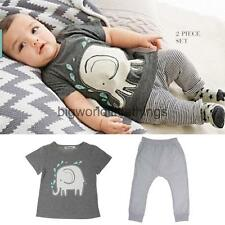 Toddler Kids Baby Girls Boys Clothing Short T-shirt Tops+Pants 2PCS Outfits Set