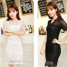 Lady Women's Sexy V-neck Short Sleeve Lace Stretch Casual Party Mini Dress SY