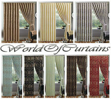 LUXURY JACQUARD Curtains Fully Lined Ready Made Tape Top Pencil Pleat Curtain