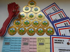 CRICKET- 50 MM METAL MEDALS WITH RIBBON X 15 with CERTIFICATES AND SCRATCH CARDS