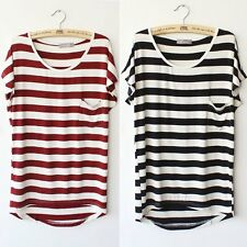 Loose Pocket T-shirt Stripe Summer Short Women Sleeve Casual Korea Tops