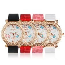 Women's Butterfly Crystal Round Quartz PU Leather Band Wrist Watch Gift SY