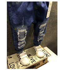 Fall Spring Pants Girl Boy Hole Jeans Trousers Children Clothing