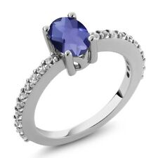 0.95 Ct Oval Checkerboard Blue Iolite White Created Sapphire 925 Silver Ring