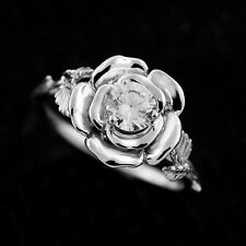 Zirconia Hand Carved Leaves Accent Rose Flower Organic Style Engagement Ring
