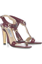 Jimmy Choo KAT Burgundy Watersnake Gold T Strap Sexy Shoes EU 41 US 10